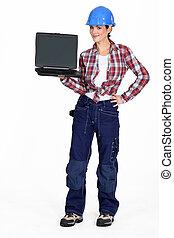 birtok, szerkesztés munkás, női, laptop.