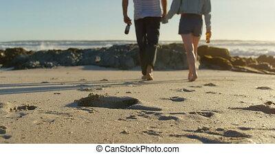 birtok, tengerpart, kézbesít, palack, sör, 4k, összekapcsol...