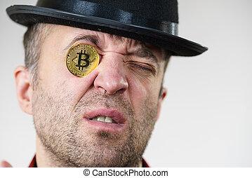 birtoklás, bitcoin, szem, ember