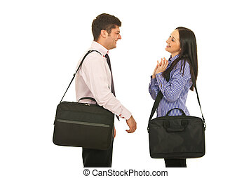 birtoklás, colleagues, találkozik, beszélgetés
