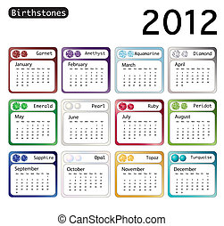 Birtstone calendar 2012 - A 2012 calendar showing...