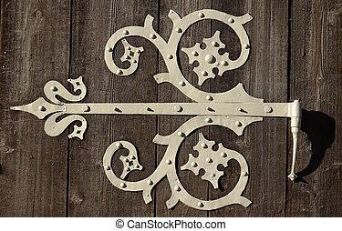 bisagra, ornamental, puerta
