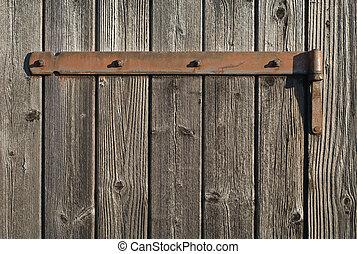 bisagra, oxidado, madera, resistido