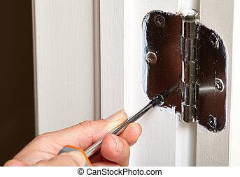 bisagra puerta, installation.