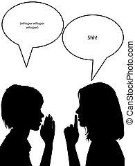 bisbiglio, shh, silhouette, donne, dire, segreti