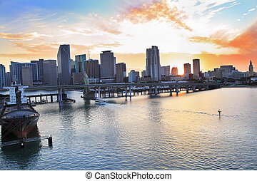 Biscayne Bay and Miami skyline at sunset in Florida, USA