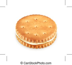 biscoito, ilustração, creme
