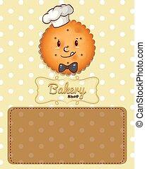 biscoito, marrom, desenho, fundo, cartaz