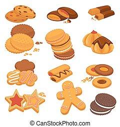 biscoitos, ícones, chocolate, sobremesas, vetorial, gingerbread, biscoitos