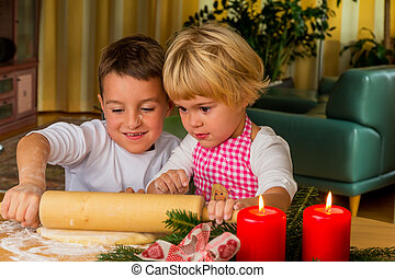 biscoitos, assando, crianças, natal