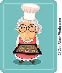 biscoitos, assando, ilustração, chocolate, vetorial, vovó, lascas