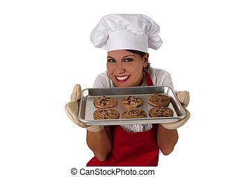 biscoitos, assando, lasca, chocolate, mãe, feliz