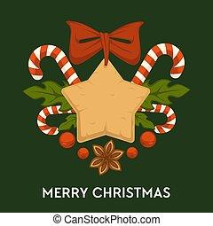 biscoitos, bala doce, tradicional, vetorial, feliz, gingerbread, natal