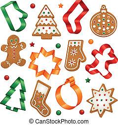 biscoitos, biscoito, natal, cortador