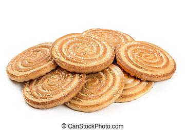 biscoitos, branca, isolado