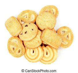 biscoitos, branca, sobre, fundo, isolado