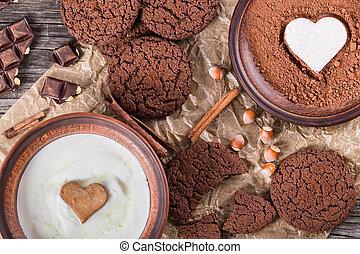 biscoitos chocolate, chocolate, com, avelãs, ligado, um, pergaminho, papel