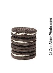 biscoitos chocolate, com, creme