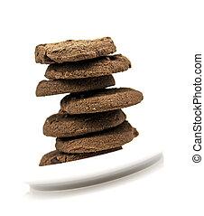 biscoitos chocolate, ligado, um, prato branco