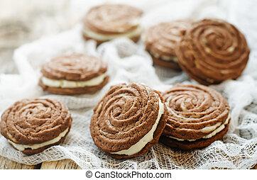 biscoitos chocolate, sable, com, queijo creme