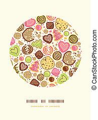 biscoitos, coloridos, padrão, decoração, fundo, círculo