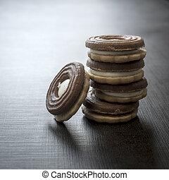biscoitos, com, chocolate, creme