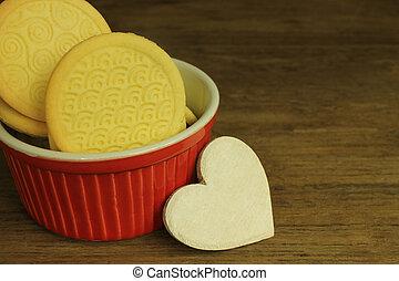 biscoitos, com, madeira, coração