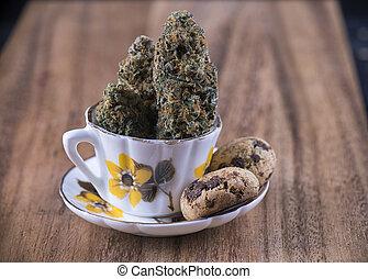 biscoitos, conceito, médico, -, marijuana, chocolate,...