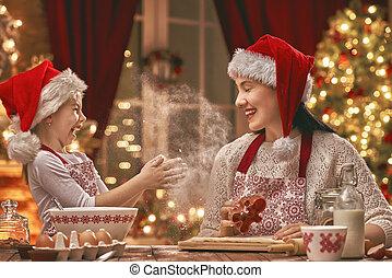 biscoitos, cozinhar, natal