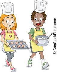 biscoitos, crianças, assando