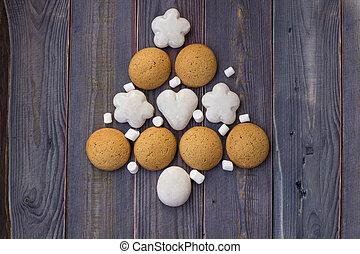 biscoitos, feito, árvore, natal, ano, novo, ou, marshmallows.