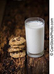 biscoitos, fundo, madeira, caseiro, tabela, leite