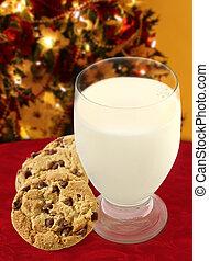 biscoitos, leite, santa