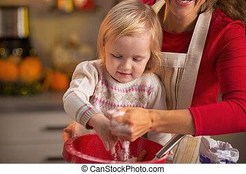 biscoitos, mãe, bebê, fazer, natal, cozinha