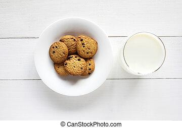 biscoitos, madeira, lasca, chocolate, tabela., leite