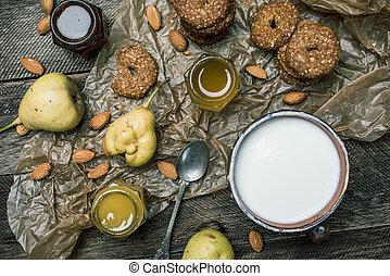 biscoitos, madeira, pêras, mel, tabela, iogurte