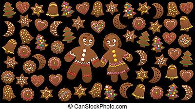 biscoitos, mulher, amor, gingerbread, natal, homem
