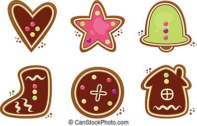 biscoitos natal, jogo, isolado, branca