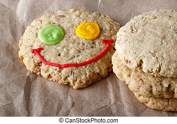 biscoitos, papel, arte, aveia