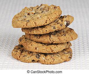 biscoitos, raisan, oatmeal