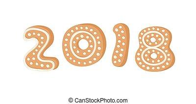 biscoitos, real, font., gengibre, alfabeto, criativo, ilustração, feriados, vetorial, números, mão, 2018., desenhado, caricatura, assar, natal, pão