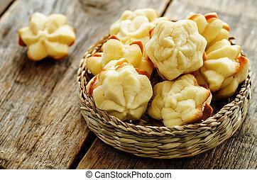 biscoitos, sable, com, queijo creme
