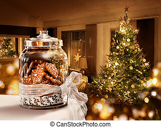 biscoitos, sala, árvore, jarro, gingerbread, natal