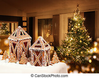 biscoitos, sala, cabanas, árvore, gingerbread, natal