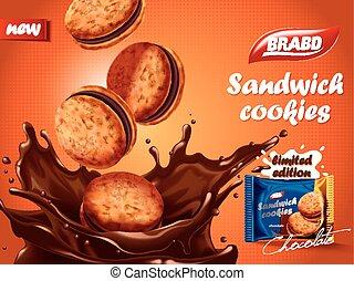 biscoitos, sanduíche, anúncio, chocolate