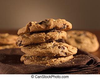 biscoitos, tiro, lasca, chocolate, foco., seletivo