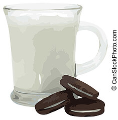 biscoitos, vetorial, leite, ilustração