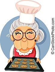 biscoitos, vovó, caseiro, segurando bandeja, cozinheiro