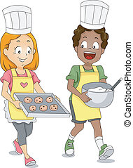 biscotti, bambini, cottura