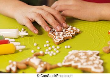 biscotti, bambino, -, closeup, decorare, mani, natale